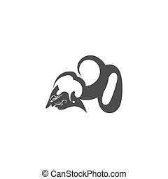Javanese puppet icon with number logo design vector
