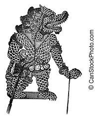Javanese theater, Vikata, the Wayang-Purwa character, vintage engraving.