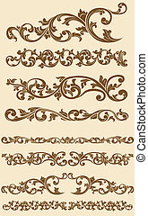 Javanese Vintage Floral Ornament - A vector set of...