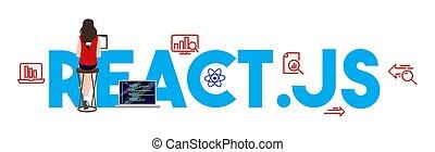 javascript, illustration., kodierung, sprache, react.js,...