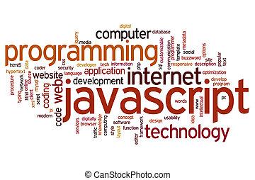javascript, palabra, nube