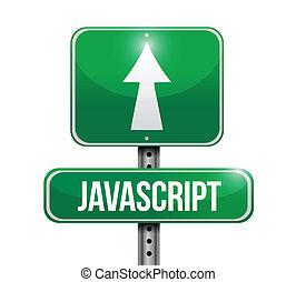 javascript, sinal estrada, ilustração