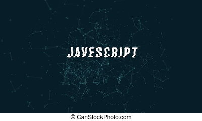 Javascript with polygonal connecting dots and lines against...