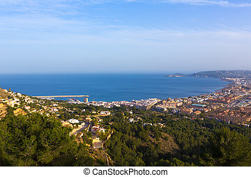 Javea Xabia aerial skyline from Molins Alicante Spain -...