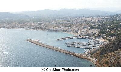 Javea Xabia village aerial pan view marina