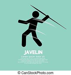 Javelin. - Javelin Black Symbol Vector Illustration.