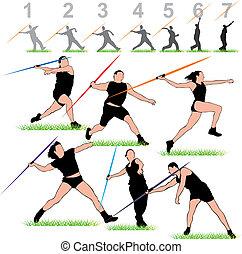 javelin, jogo, atletas