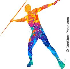 Javelin throw Athlete - Abstract Javelin Thrower from splash...
