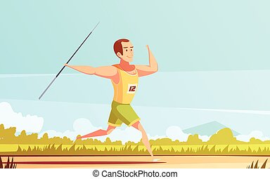 Javelin Thrower Outdoor Composition - Sportsman retro...
