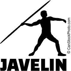 Javelin thrower with word