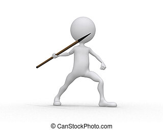 Javelin throwing (3d on white background sports characters...