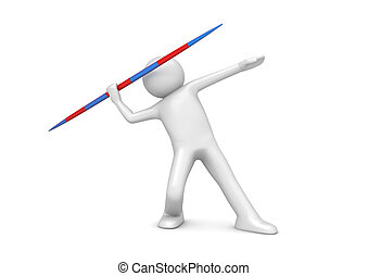 Javelin throwing - 3d isolated on white background sports...