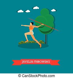 Javelin throwing sportswoman. Track and field athletics. Flat design