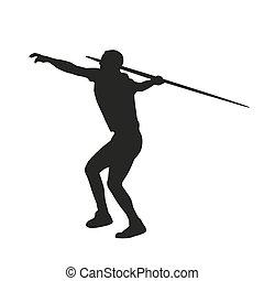 javelin, vetorial, silueta, throwing.
