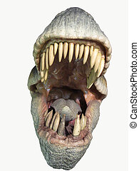 Breadboard model of a jaw of a dinosaur isolated on the white