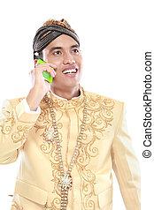 jawa, ruchomy, tradycyjny, telefon, garnitur, używając, człowiek