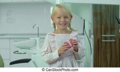 jawbone., monde médical, ferme, peu, ouvre, girl
