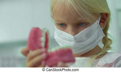 jawbone., monde médical, masque, girl, regarder