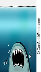 Dangerous threat from shark attacking from the abyss, eps10 vector