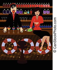 jay girl on the bar. concept of recreation - jay girl on the...