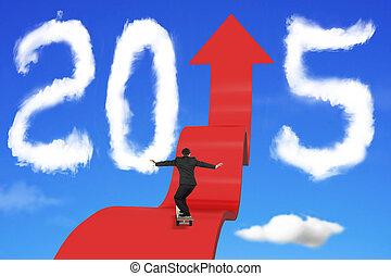 jazda na desce, biznesmen, na, strzała, zwyżkowy, ścieżka, z, 2015, chmury, niebo