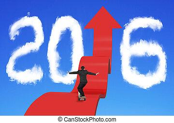 jazda na desce, biznesmen, na, strzała, zwyżkowy, ścieżka, z, 2016, chmury, niebo