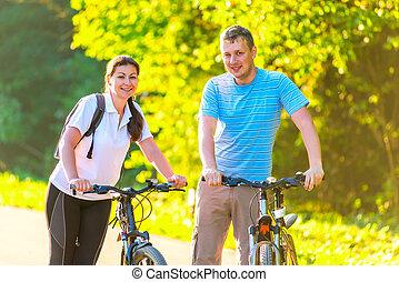 jazda, park, młody, rower, weekend, para