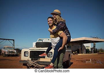 jazda, udzielanie, obsadzać kobietę, piggyback