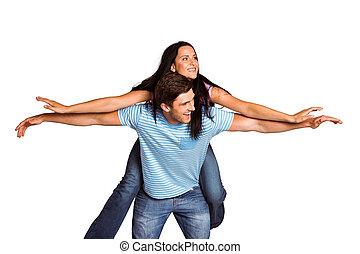 jazda, udzielanie, sympatia, człowiek, piggyback, młody