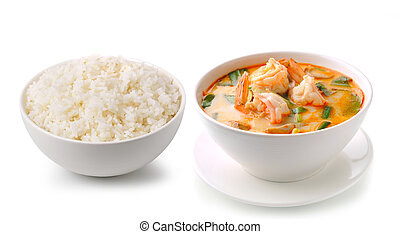 jazmín, arroz, y, tom, ñame, kung, (thai, cuisine), aislado,...