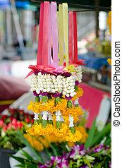 jazmín, guirnalda, con, maravilla, en, mercado, tailandia