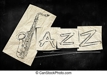 Jazz art paper on blackboard