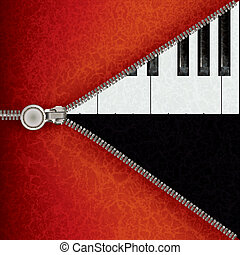 jazz background with piano and open zipper - abstract music...
