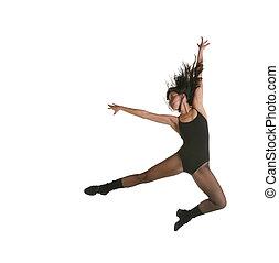 jazz, bailarín, moderno, calle, saltar