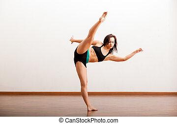 jazz, ballerino, scaldata