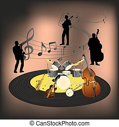 Jazz band - Vector illustration of a jazz band, orchestra on...
