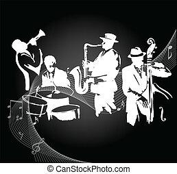 Jazz band - Jazz musicians on a black gradient background