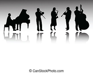 jazz band on white background