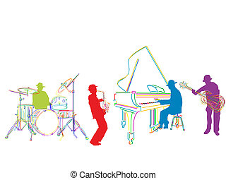 Jazz band sketch, isolated and grouped over white background
