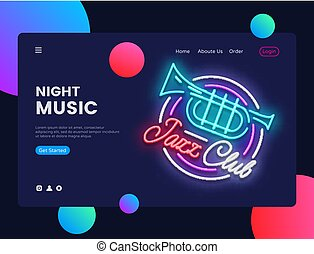 Jazz Club concept banner. Jazz Music Neon Sign, can use for web banner, infographics, website template. Jazz Party Invitation. Vector illustration isolated
