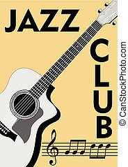 Jazz club leaflet with monochrome guitar drawing and notation in retro style. Treble clef, stave and notes on old beige paper background.