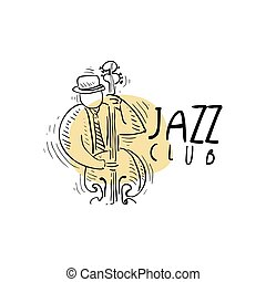 Jazz club logo, vintage music label with saxophonist playing sax, element for flyer, card, leaflet or banner, hand drawn vector Illustration