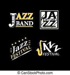 Jazz club musical live festival vector sax and piano icons