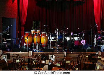 Jazz club - Stage is set in a jazz club