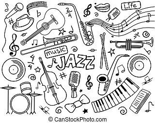 jazz, colorless, set, vettore