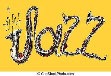 JAZZ Concept, Music Engraved, Hand Drawn, Sketch - JAZZ...