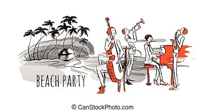 Jazz concert on the beach. Jazz band and sea shore with palm trees. Hand-drawn vector illustration.