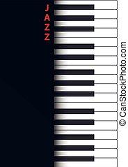 Jazz concert poster design. Live music concert. Piano keys. Vector illustration.