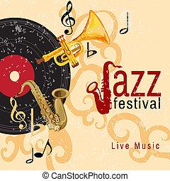 Jazz concert poster - Jazz retro music festival concert live...