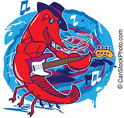A crawfish playing a jazz bass guitar